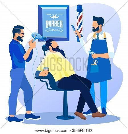 Couple Of Professional Barbers With Fan And Comb Doing Client Haircut In Men Beauty Salon Barbershop