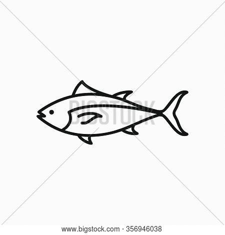 Bluefin Tuna Icon Logo Design. Simple Flat Vector Illustration