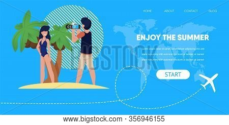 Enjoy Summer Banner. Couple At Beach Girl Near Palm Tree Man Take Picture Vector Illustration. Famil
