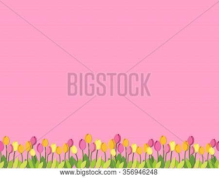 Spring Paper Cut Tulips Seamless Border Pattern. Letter Format Greeting Card With Floral Elements. V