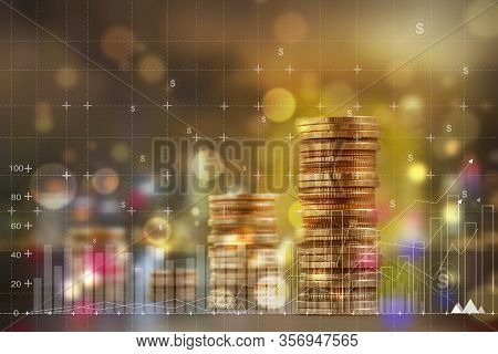 Finance And Business Concept: Double Exposure With Business Charts Of Graph And Arrange Rows Of Incr