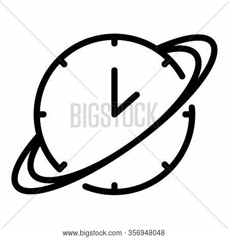 Saturn Watch Icon. Outline Saturn Watch Vector Icon For Web Design Isolated On White Background