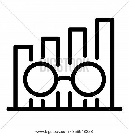 Chart And Eyeglasses Icon. Outline Chart And Eyeglasses Vector Icon For Web Design Isolated On White