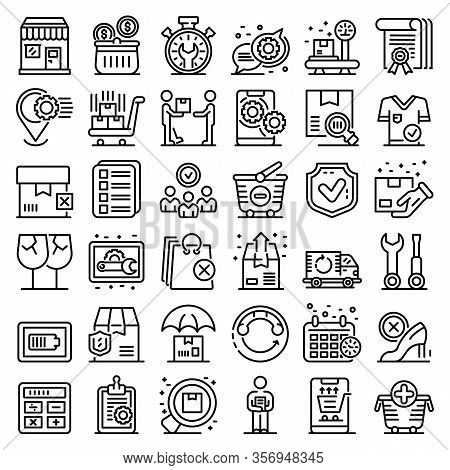 After Sales Service Icons Set. Outline Set Of After Sales Service Vector Icons For Web Design Isolat
