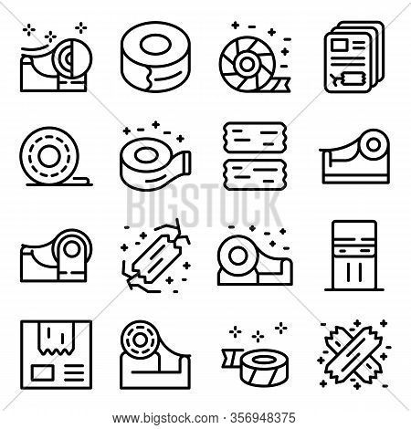 Scotch Tape Icons Set. Outline Set Of Scotch Tape Vector Icons For Web Design Isolated On White Back