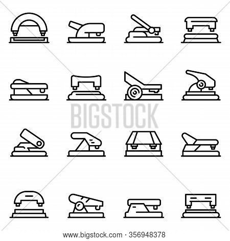 Hole Puncher Icons Set. Outline Set Of Hole Puncher Vector Icons For Web Design Isolated On White Ba