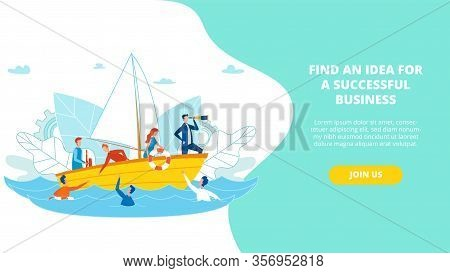 Flyer Find An Idea For A Successful Business. Low Conversion Cost. Rescue Operation On Water. People