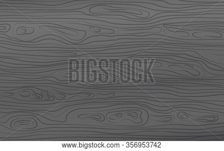 Dark Grey Horizontal Wooden Cutting, Chopping Board, Table Or Floor Surface. Wood Texture. Vector Il