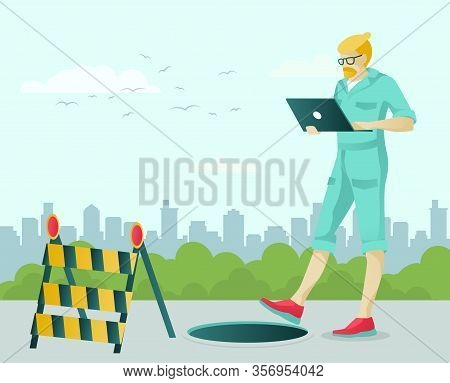 Cartoon Man Character Walking With Laptop. High Risk To Fall In Sewer Manhole Or Empty Deep Hole Due