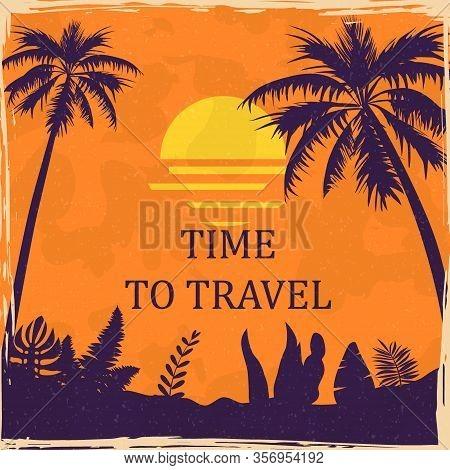 Sunset Beach Summer Tropical Vintage Poster. Seaside View Ocean Palms Floral. Textured Grunge Effect