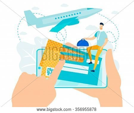 Online Booking And Payment For Air Ticket Metaphor. Cartoon Electronic Boarding Pass With Barcode. C