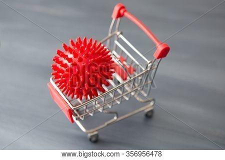 Impact Of Coronavirus Covid-19 On The Global Economy, Coronavirus In A Shopping Trolley. Financial C