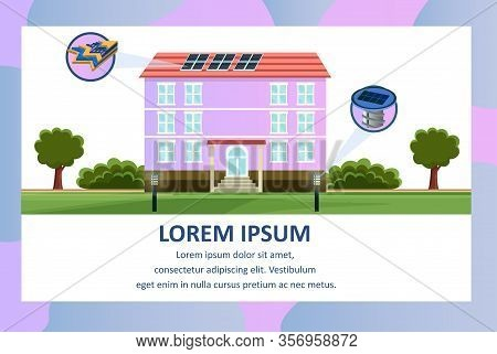 People Walk On Lawn With Solar Powered Lights Vector Illustration. House Building With Solar Battery
