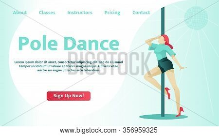 Flat Landing Page For Pole Dance School And Personal Classes. Cartoon Beautiful Woman Character Danc