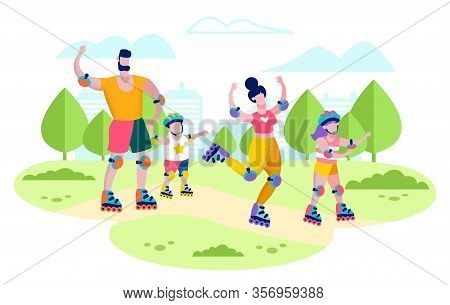 Happy Family Summer Active Leisure, Healthy Lifestyle And Outdoors Recreation Flat Vector Concept. H