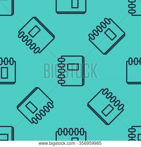 Black Line Notebook Icon Isolated Seamless Pattern On Green Background. Spiral Notepad Icon. School