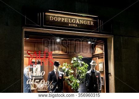 Palermo, Sicily - February 8, 2020: The Storefront Of The Doppelganger Boutique Which Sells Luxury M