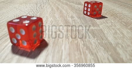 Dice In The Close-up.red Dice Rolling.game Cubes.
