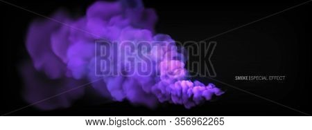 Realistic Multi-colored Smoke On A Black Background. Colored Smoke Bombs. Isolated Fog Or Smoke, Tra