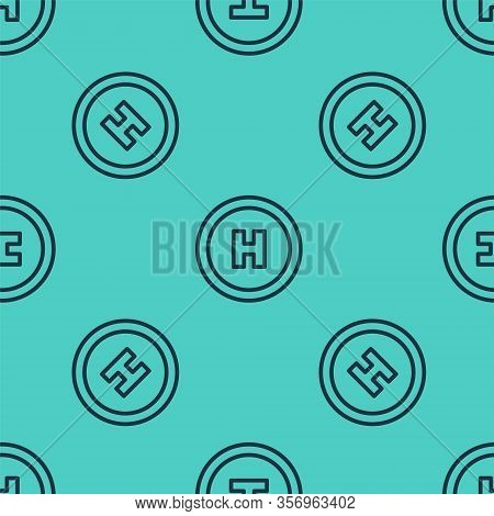 Black Line Helicopter Landing Pad Icon Isolated Seamless Pattern On Green Background. Helipad, Area,