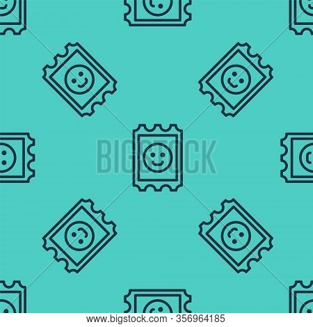 Black Line Lsd Acid Mark Icon Isolated Seamless Pattern On Green Background. Acid Narcotic. Postmark