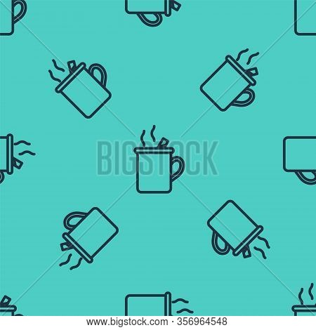 Black Line Mulled Wine With Glass Of Drink And Ingredients Icon Isolated Seamless Pattern On Green B