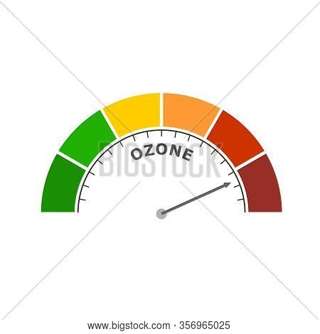 Abstract Meter Read Level Of Ozone Result. Color Scale With Arrow. The Measuring Device Icon. Colorf