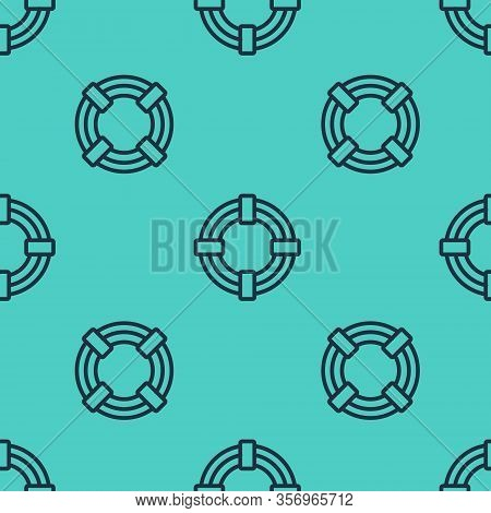 Black Line Lifebuoy Icon Isolated Seamless Pattern On Green Background. Life Saving Floating Lifebuo