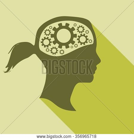 Silhouette Of A Woman Head. Mental Health Concept. Gears Icons In Head As Symbol Of Brainstorm Or Th