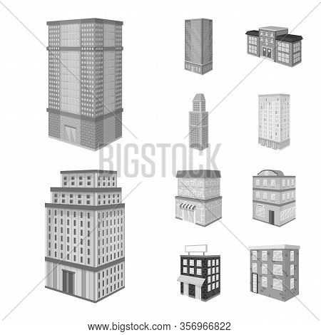 Vector Illustration Of Realty And Modern Sign. Collection Of Realty And Building Stock Symbol For We