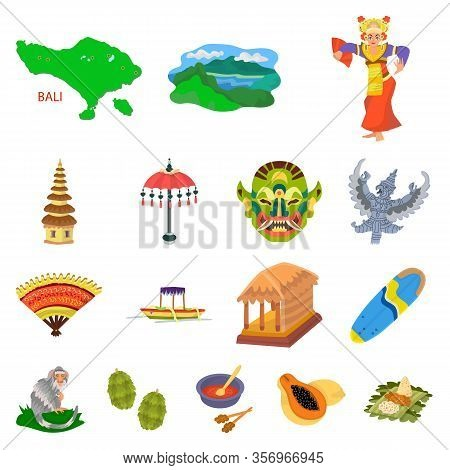Isolated Object Of Bali And Indonesia Icon. Set Of Bali And Caribbean Stock Symbol For Web.