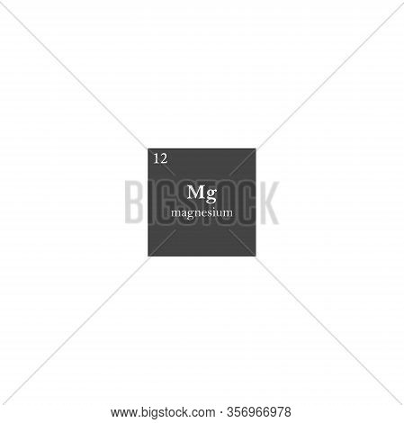 Magnesium Chemical Element Vector Icon On White Isolated Background.