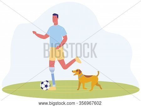 Cartoon Man With Prosthetic Leg Play Football Vector Illustration. Male Person With Prosthesis. Serv
