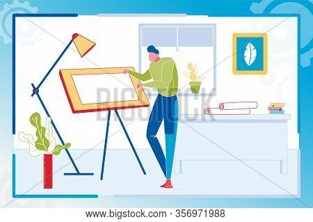 Professional Architect Working With Adjustable Table Indoor Workplace. Designer Or Engineer Planning