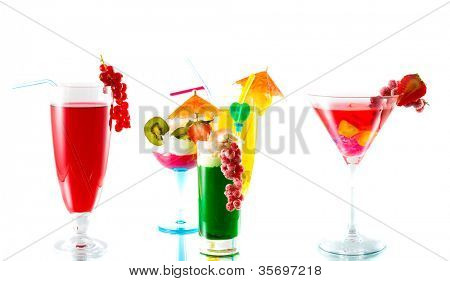 Cocktail drink on fruit/ isolated