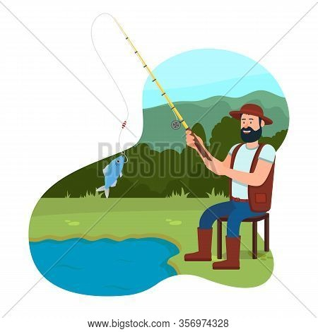 Fisherman Sit On Chair Near Lake With Fishing Rod. Fishing Rod In Hand. Fish In Bucket. Catch Fish.