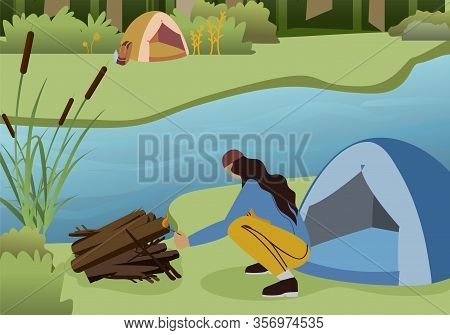 Female Hiker Making Campfire Flat Vector Character. Tent And Bonfire On Forest River Bank. Summer Va