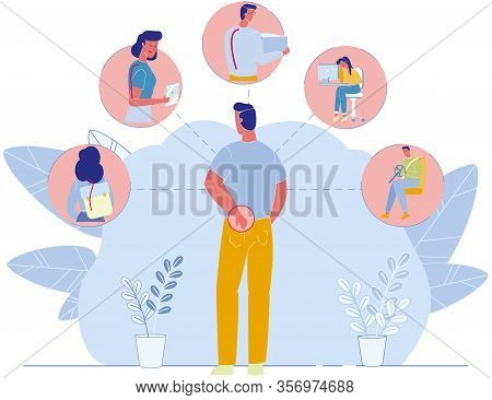 Flat Poster With Spine Pain In Lower Back Causes. Man Suffering From Backache. Correct Body Postures