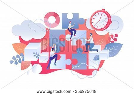 Flat Illustration Time Management Day Start Rule. Men Assemble Puzzle. Assessment Importance And Urg