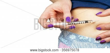 Diabetes Patient Make Insulin Shot By Syringe. Woman Use Insulin Injection Pen. Diabetes Medical Car