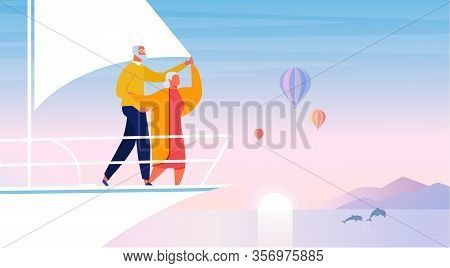 Happy Retirement, Sea Travel Vector Illustration. Elderly Tourists Couple Cartoon Characters. Happy