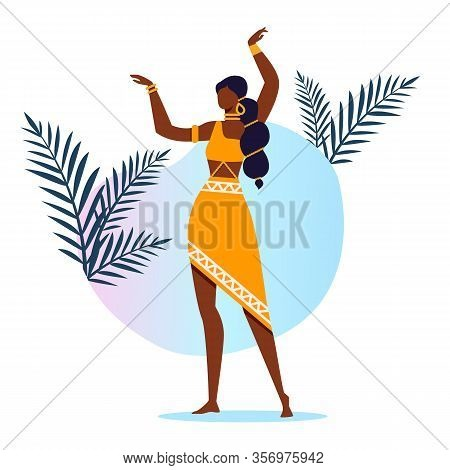 Graceful Indian Dancer Flat Vector Illustration. Beautiful Asian Lady, Performer Cartoon Characters.