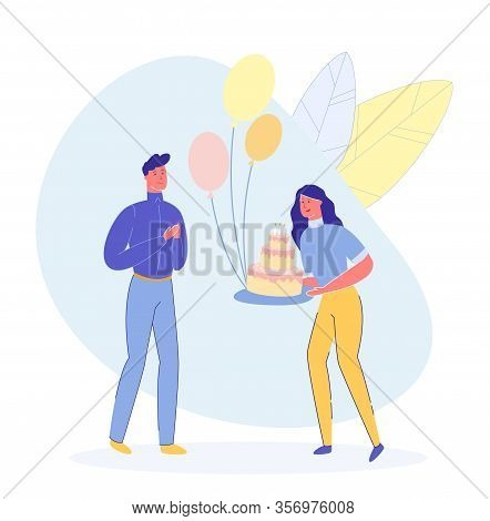 Friends, Relatives Or Colleaques Group - Man And Woman Cartoon Characters. Young Girl Wishes To Guy