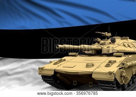 Estonia Modern Tank With Not Real Design On The Flag Background - Tank Army Forces Concept, Military
