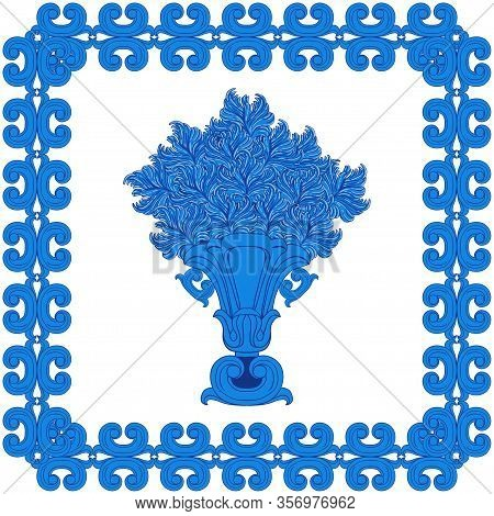 Image Of A Single Vase With Abstract Flowers In A Frame In A Blue And White Palette In The Baroque S