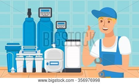 Home Water Filtration System Flat Illustration. Tank, Reservoir With Drinkable Liquid. Young Handyma