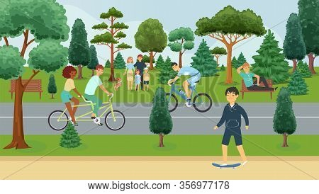 People Relaxing In Summer Park, Outdoor Activities, Happy Families Cartoon Vector Illustration. Man