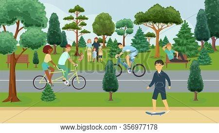 People Relaxing In Summer Park, Outdoor Activities, Happy Families Cartoon Vector Illustration. Man