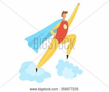 Super Hero Costume Flat Cartoon Vector Illustration Isolated On White, Superhero Male Character Jump