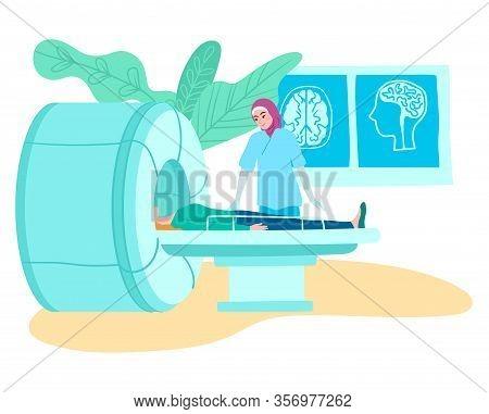 Mri Tomography Scanner In Hospital, Muslim Doctor And Patient On Medical Mri Scanning Examination Ve